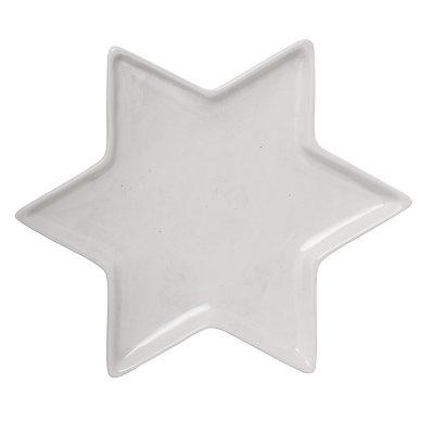 Bricka Stjärna Ø23 cm, Vit