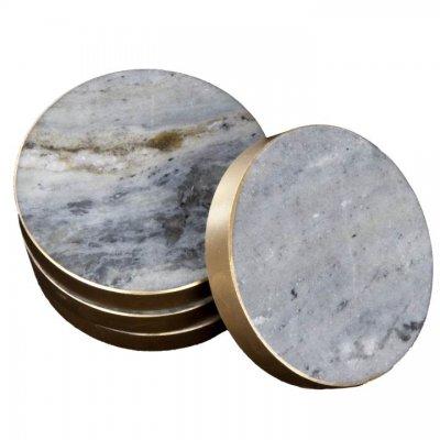 Svensk Marmor Glasunderlägg blå Coaster guld
