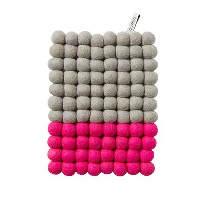 Grytunderlägg Aveva Dip Wool Rektangel 22 cm, Rosa/Grå