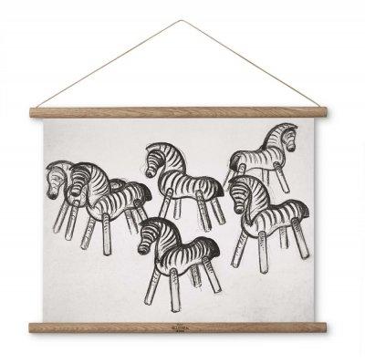 Bild av Kay Bojesen Print Zebra ritning med trälist 40x30 cm, Natur