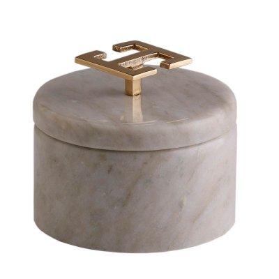 Svensk Marmor Ask ljus Hemera Light Greek Key Guld