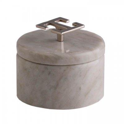 Svensk Marmor Ask ljus Hemera Light Greek Key Silver