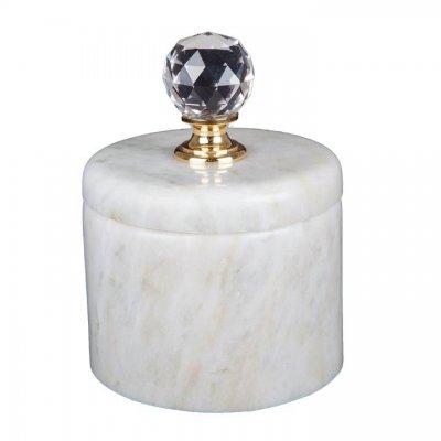 Svensk Marmor Ask ljus Crystal Kristall/Mässing